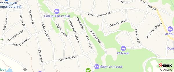 Южная улица на карте Каменномостского поселка Адыгеи с номерами домов