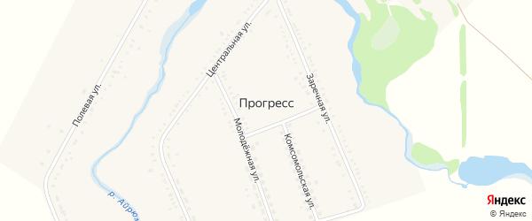 Советский переулок на карте хутора Прогресса Адыгеи с номерами домов