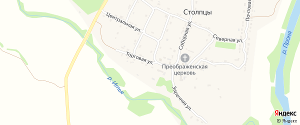 Торговая улица на карте села Столпцы Рязанской области с номерами домов