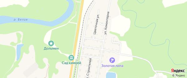 Весенний переулок на карте Каменномостского поселка Адыгеи с номерами домов