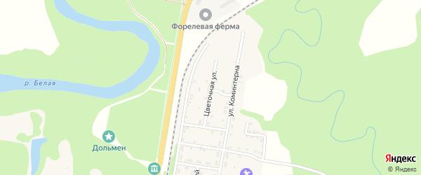 Цветочная улица на карте Каменномостского поселка Адыгеи с номерами домов