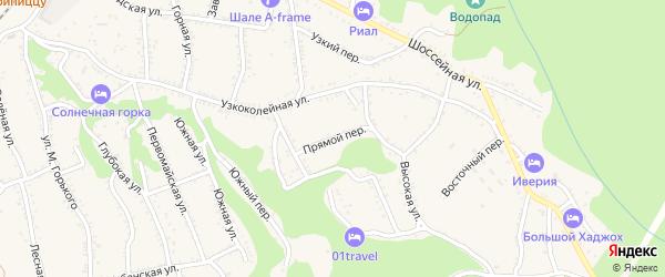 Прямой переулок на карте Каменномостского поселка Адыгеи с номерами домов