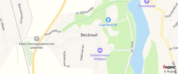 Низовая улица на карте хутора Веселый (Каменномостский птт) Адыгеи с номерами домов