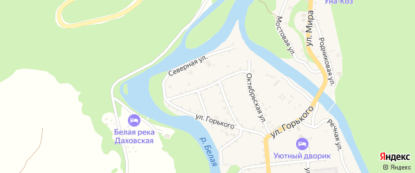 Пролетарская улица на карте Даховской станицы Адыгеи с номерами домов