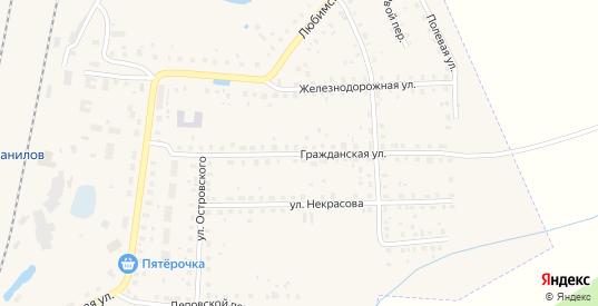Гражданская улица в Данилове с номерами домов на карте. Спутник и схема онлайн