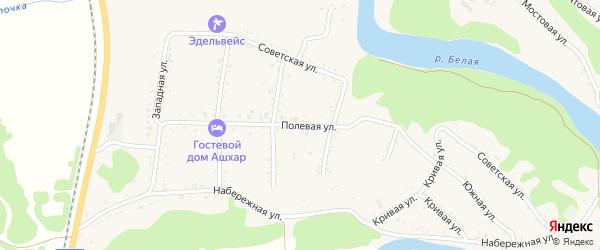 Полевая улица на карте Абадзехской станицы Адыгеи с номерами домов
