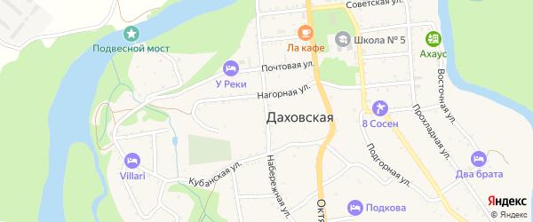 Набережная улица на карте Даховской станицы Адыгеи с номерами домов