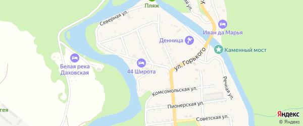 Улица Горького на карте Даховской станицы Адыгеи с номерами домов