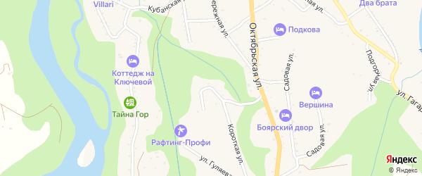 Короткая улица на карте Даховской станицы Адыгеи с номерами домов