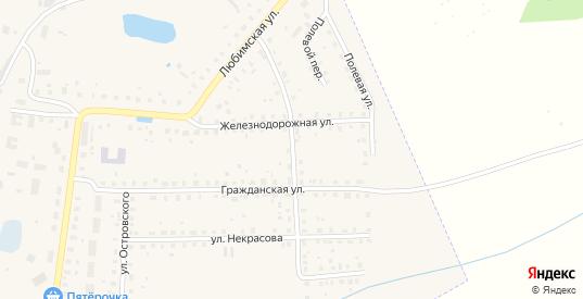 Любимский переулок в Данилове с номерами домов на карте. Спутник и схема онлайн
