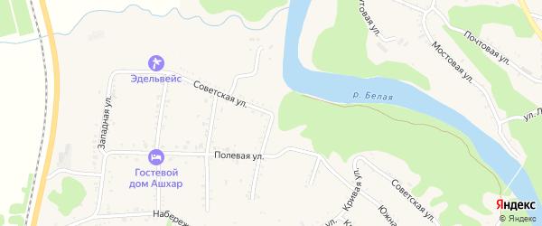 Советская улица на карте Абадзехской станицы Адыгеи с номерами домов