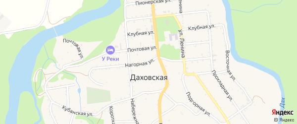 Нагорная улица на карте Даховской станицы Адыгеи с номерами домов