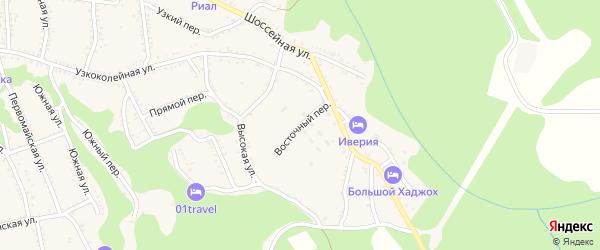 Восточный переулок на карте Каменномостского поселка Адыгеи с номерами домов