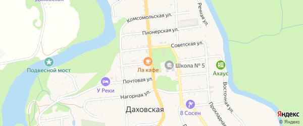 Клубная улица на карте Даховской станицы с номерами домов