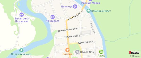 Комсомольская улица на карте Даховской станицы Адыгеи с номерами домов