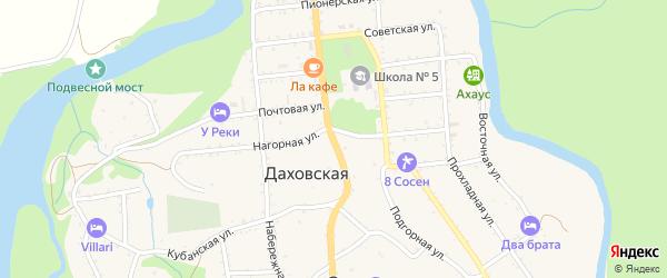 Октябрьская улица на карте Даховской станицы Адыгеи с номерами домов