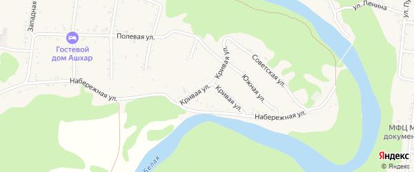 Кривая улица на карте Абадзехской станицы Адыгеи с номерами домов