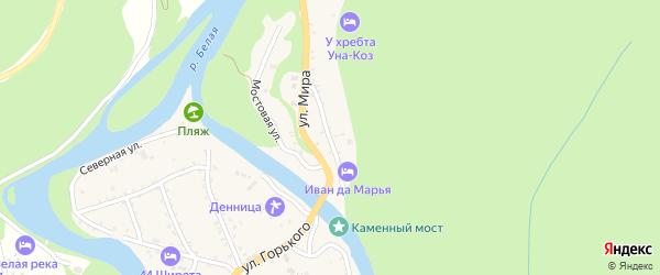 Родниковая улица на карте Даховской станицы Адыгеи с номерами домов