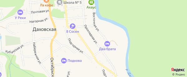 Прохладная улица на карте Даховской станицы Адыгеи с номерами домов