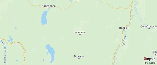 Карта Коношского района Архангельской области с населенными пунктами и городами