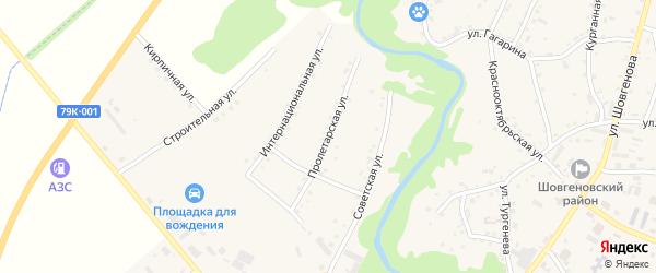 Пролетарская улица на карте аула Мамхег Адыгеи с номерами домов