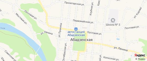 Почтовая улица на карте Абадзехской станицы Адыгеи с номерами домов