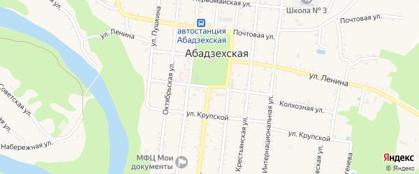 Телеграфная улица на карте Абадзехской станицы Адыгеи с номерами домов