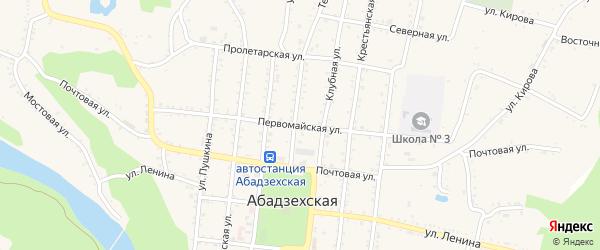 Первомайская улица на карте Абадзехской станицы Адыгеи с номерами домов