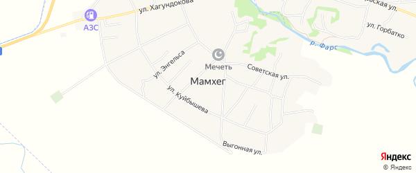 Карта аула Мамхег в Адыгее с улицами и номерами домов