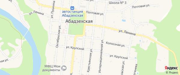 Колхозная улица на карте Абадзехской станицы Адыгеи с номерами домов