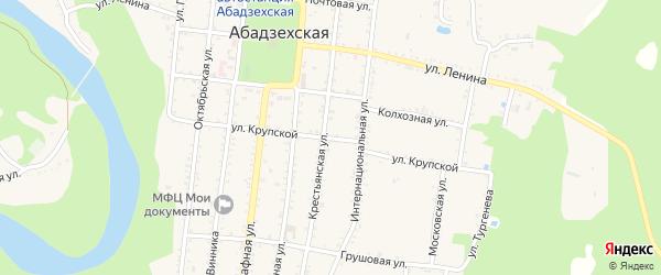 Улица Крупской на карте Абадзехской станицы Адыгеи с номерами домов