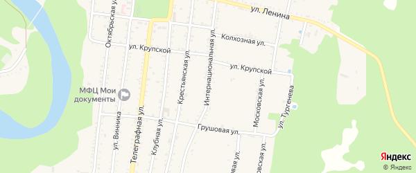 Интернациональная улица на карте Абадзехской станицы Адыгеи с номерами домов