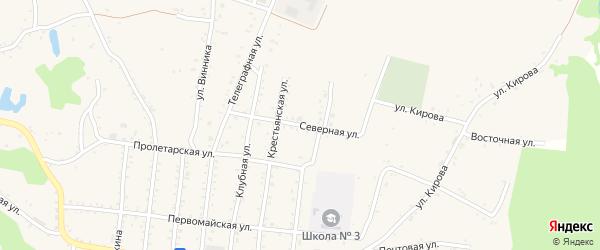 Северная улица на карте Абадзехской станицы Адыгеи с номерами домов
