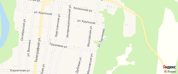 Московская улица на карте Абадзехской станицы Адыгеи с номерами домов