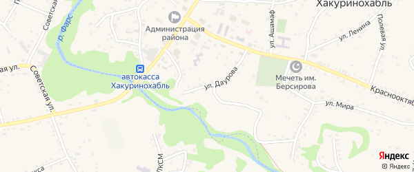 Улица К.Даурова на карте аула Хакуринохабля Адыгеи с номерами домов