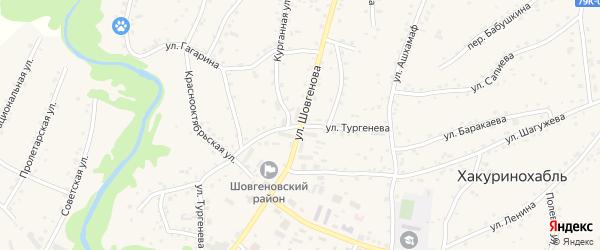 Улица Тургенева на карте аула Хакуринохабля Адыгеи с номерами домов
