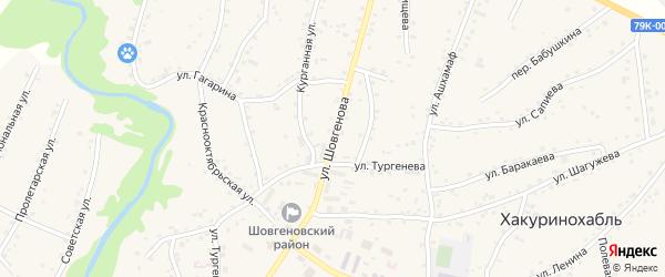 Улица Шовгенова на карте аула Хакуринохабля Адыгеи с номерами домов