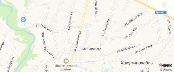 Улица Матросова на карте аула Хакуринохабля Адыгеи с номерами домов