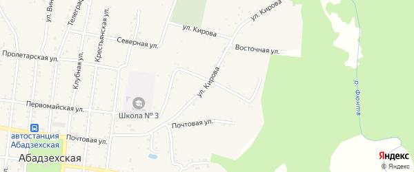 Улица Кирова на карте Абадзехской станицы Адыгеи с номерами домов
