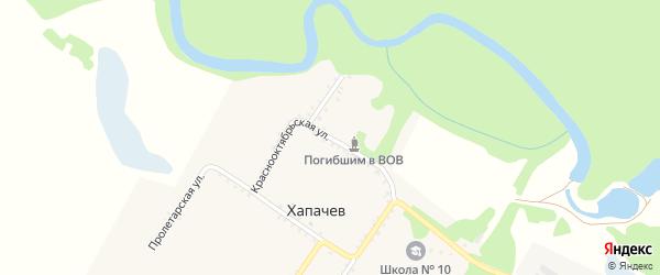Краснооктябрьская улица на карте хутора Хапачева Адыгеи с номерами домов