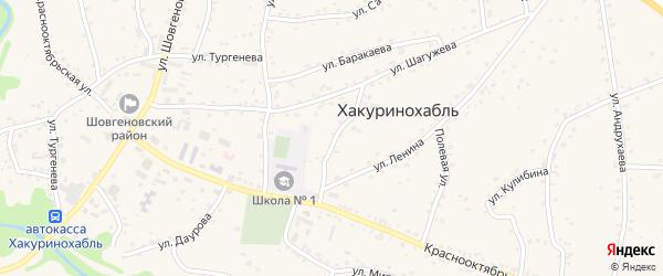 Колхозная улица на карте аула Хакуринохабля Адыгеи с номерами домов