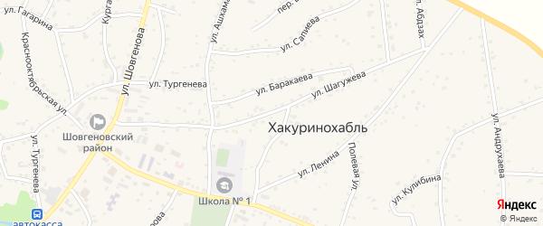 Улица Шагужева на карте аула Хакуринохабля с номерами домов