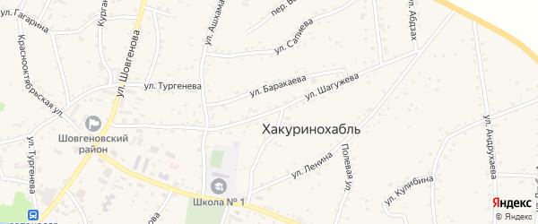 Улица им К.Шагужева на карте аула Хакуринохабля Адыгеи с номерами домов