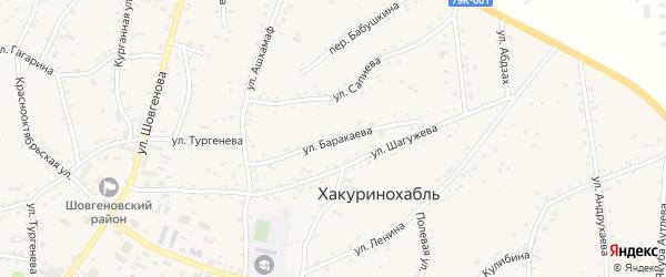Улица им М.Баракаева на карте аула Хакуринохабля Адыгеи с номерами домов