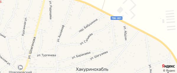 Улица им А.М.Сапиева на карте аула Хакуринохабля с номерами домов