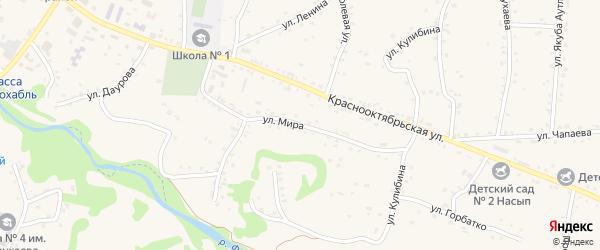 Улица Мира на карте аула Хакуринохабля Адыгеи с номерами домов