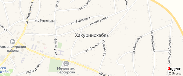 Улица Юннатов на карте аула Хакуринохабля Адыгеи с номерами домов