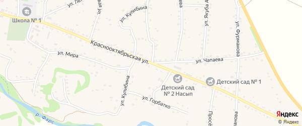 Краснооктябрьская улица на карте аула Хакуринохабля Адыгеи с номерами домов