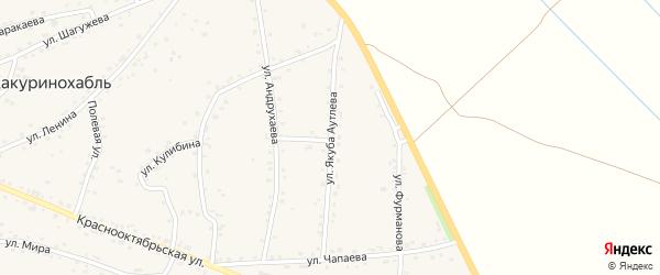 Улица им Р.А.Аутлева на карте аула Хакуринохабля Адыгеи с номерами домов