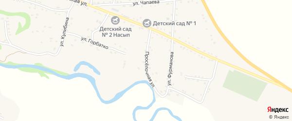 Проселочная улица на карте аула Хакуринохабля Адыгеи с номерами домов
